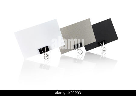 Blank business cards on white - Stock Photo