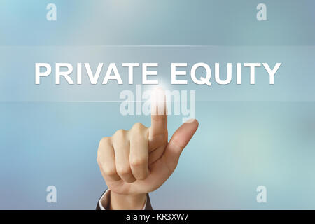 business hand clicking private equity button on blurred background - Stock Photo
