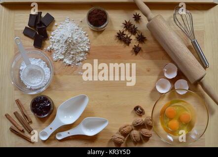 frame of baking ingredients - Stock Photo