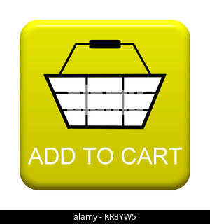 Gelber isolierter Button mit Symbol zeigt Add to Cart - Stock Photo