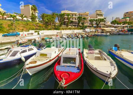 Fishing wharf in Chania, Crete, Greece - Stock Photo