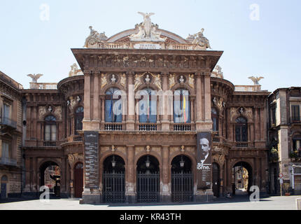 View of 'Teatro Massimo Bellini' building that is ornate 19th-century theatre with lavish gilt-edged auditorium - Stock Photo