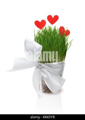 Pot with grass and paper hearts - Stock Photo