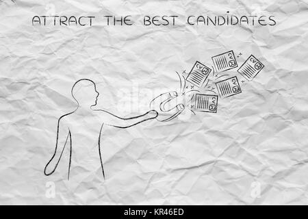 person attracting resumes with magnet, recruitment concept - Stock Photo
