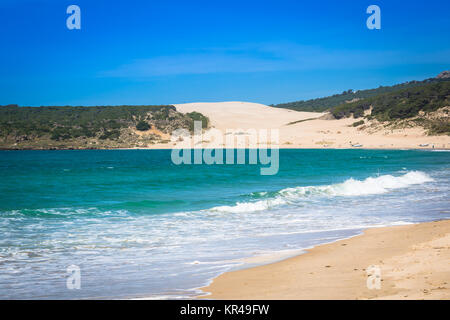 sand dune of bolonia beach,province of cadiz,andalucia,spain - Stock Photo