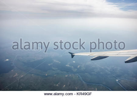 Earth relief viewed from plane - Stock Photo