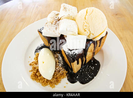 Chocolate Honey Toast with Ice Cream and Marshmallow - Stock Photo