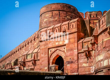 Red Fort massive walls - Stock Photo