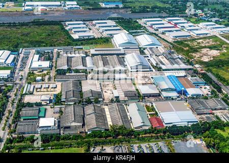 Industrial Estate Land Development Construction Aerial View - Stock Photo