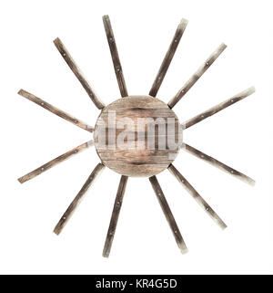 traditional sun symbol made out of wooden planks - Stock Photo