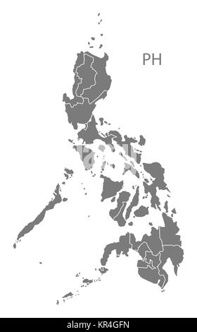 Philippines regions Map grey - Stock Photo