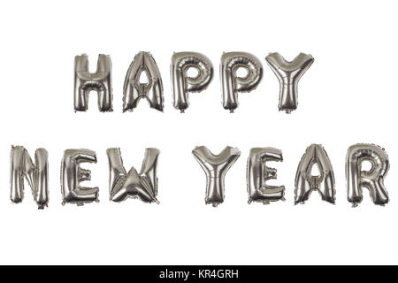 happy new year English alphabet   from ) balloons on a white background .