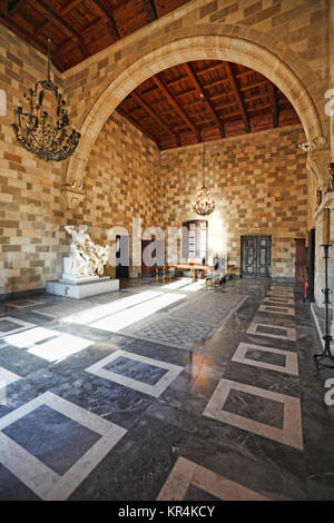 The Palace of the Grand Master of the Knights is a medieval castle in the old city of Rhodes, Greece - Stock Photo