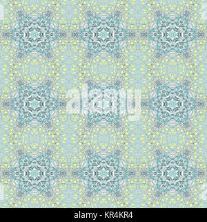 Abstract geometric seamless background. Delicate regular stars pattern turquoise, yellow and pink on light gray, - Stock Photo