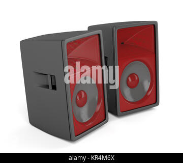 Stage loudspeakers on white - Stock Photo