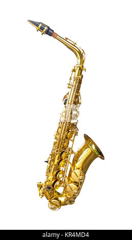 Golden alto saxophone isolated - Stock Photo