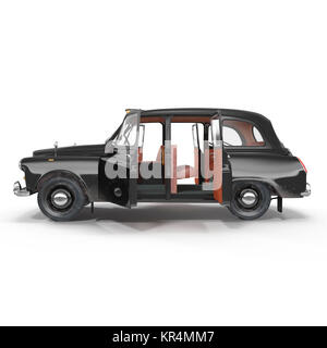 Side view hackney carriage on white. Doors opened. 3D illustration - Stock Photo