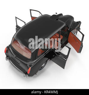 Angle from up hackney carriage on white. Doors opened. 3D illustration - Stock Photo
