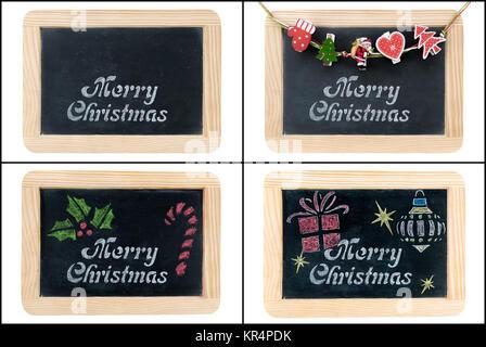 Merry Christmas greeting on chalkboard frames - Stock Photo