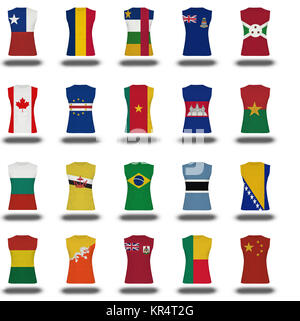 compilation of nationals flag shirt icon on white background part 2/10 - Stock Photo