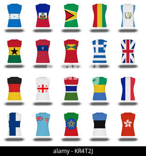 compilation of nationals flag shirt icon on white background part 4  10 - Stock Photo