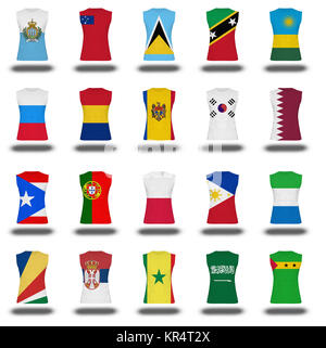 compilation of nationals flag shirt icon on white background part 810 - Stock Photo