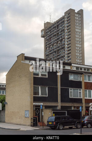 London, England, UK - June 21, 2016: The brutalist Trellick Tower social housing estate in North Kensington, west - Stock Photo