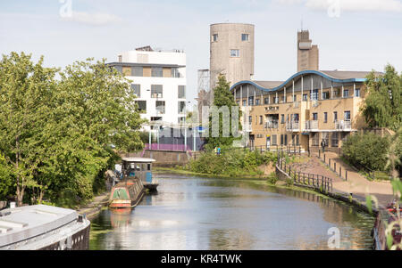 London, England - July 10, 2016: Houseboats are moored on the Grand Union Canal at Ladbroke Grove in West London. - Stock Photo