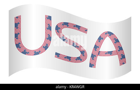 Word USA made from american flags waving on white - Stock Photo