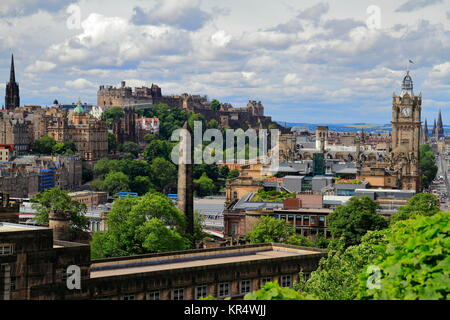 A view over Edinburgh from Calton Hill, Scotland - Stock Photo