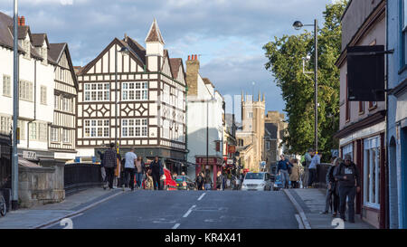 Cambridge, England, UK - August 19, 2017: Traditional shops and houses line Bridge Street in the city centre of - Stock Photo