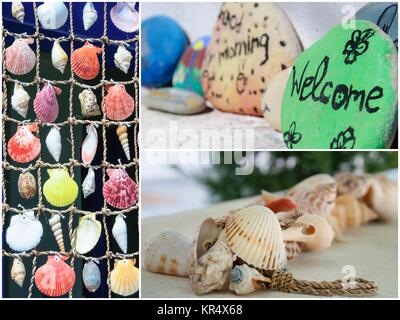 Photo collage of colorful shells background - Stock Photo