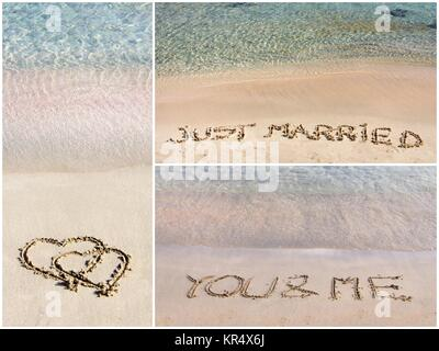 Collage of wedding messages written on sand - Stock Photo
