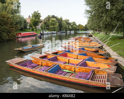 Cambridge, England, UK - August 19, 2017: Traditional punt boats are moored up on the riverbank of the Cam in Cambridge. - Stock Photo