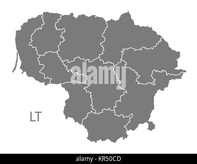 Lithuania counties Map grey - Stock Photo