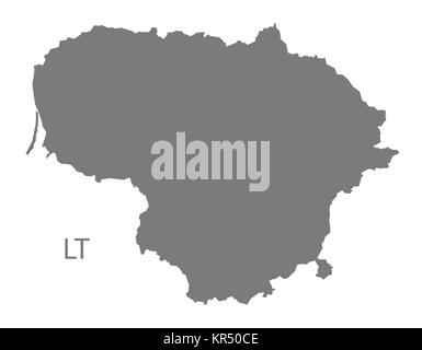Lithuania Map grey - Stock Photo