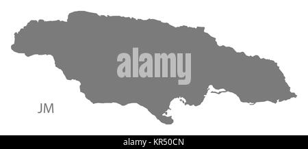 Jamaica Map grey - Stock Photo