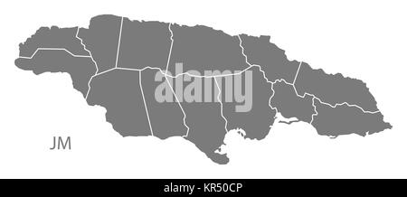 Jamaica with parishes Map grey - Stock Photo