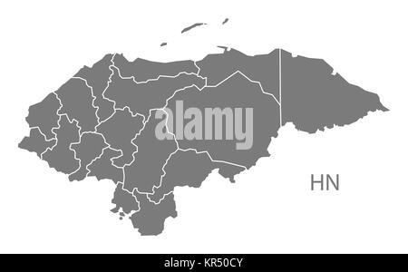 Honduras departments Map grey - Stock Photo