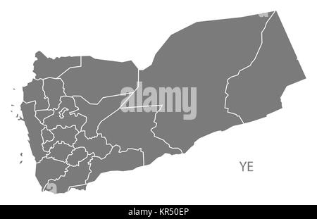 Yemen governorates Map grey - Stock Photo