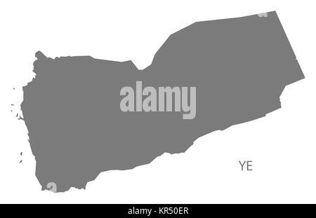 Yemen Map grey - Stock Photo