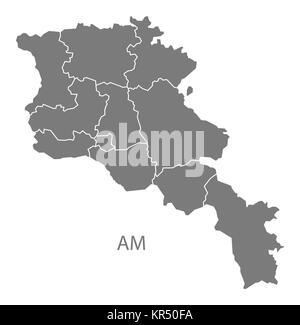 Armenia regions Map grey - Stock Photo