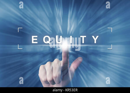 hand clicking on equity button - Stock Photo