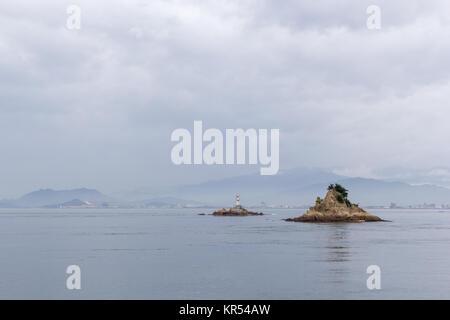 The view towards Imabari from Oshima Island, Seto Inland Sea, Japan - Stock Photo