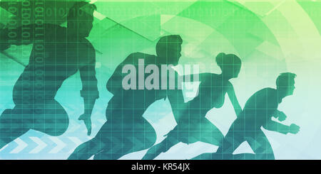 Silhouettes of Business People with Teamwork - Stock Photo