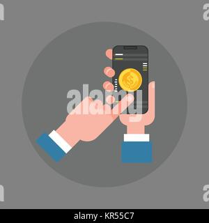 Business Man Hand Hold Smart Phone Making Mobile Payment Icon - Stock Photo