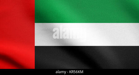 Flag of UAE waving in the wind with fabric texture - Stock Photo
