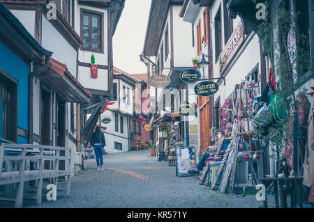 Eskisehir, Turkey - June 15, 2017: View from Odunpazari which is a historic district full of Ottoman era old houses, - Stock Photo