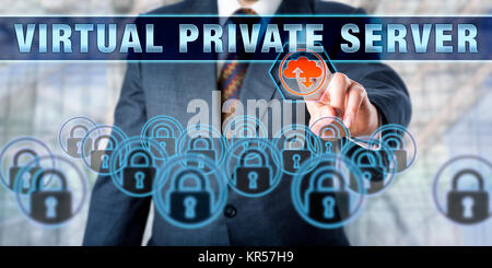 Businessman Pressing VIRTUAL PRIVATE SERVER - Stock Photo