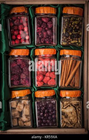 Set for mulled wine in glass jars - Stock Photo